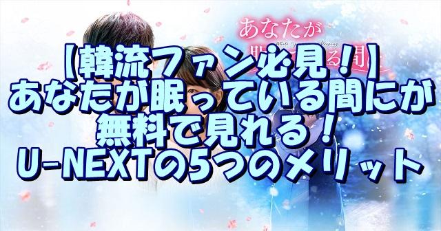 【韓流ファン必見!】あなたが眠っている間にが無料で見れる!U-NEXTの5つのメリット