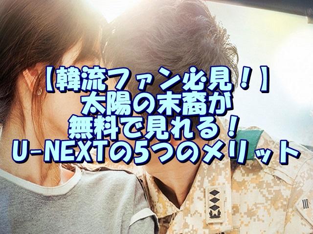 【韓流ファン必見!】太陽の末裔が無料で見れる!U-NEXTの5つのメリット